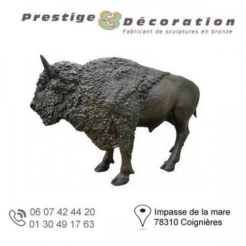 sculpture bronze bison