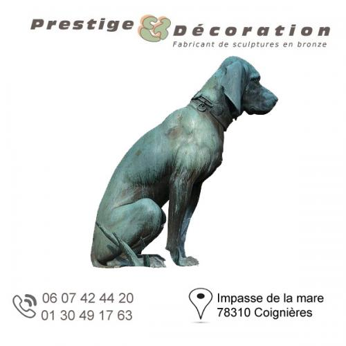 sculpture bronze chien