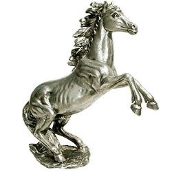 sculpture cheval argent